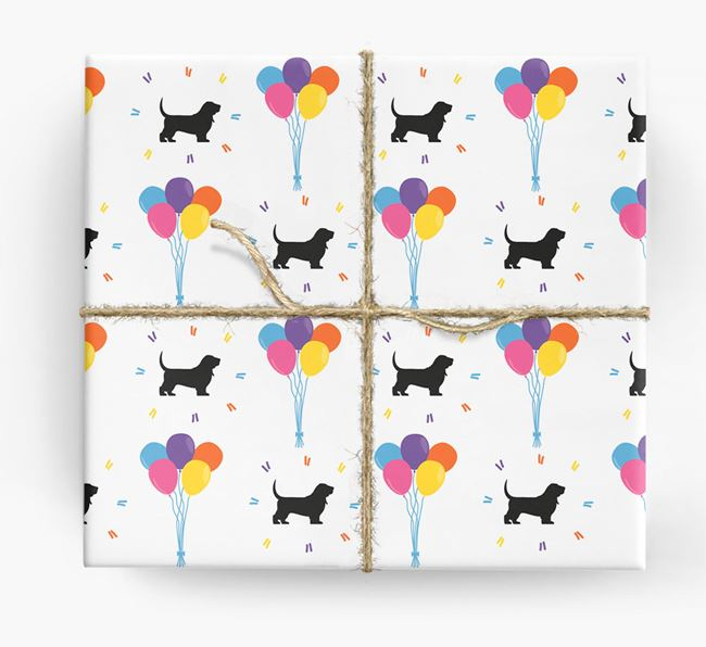Birthday Balloon Wrapping Paper with Basset Hound Silhouettes