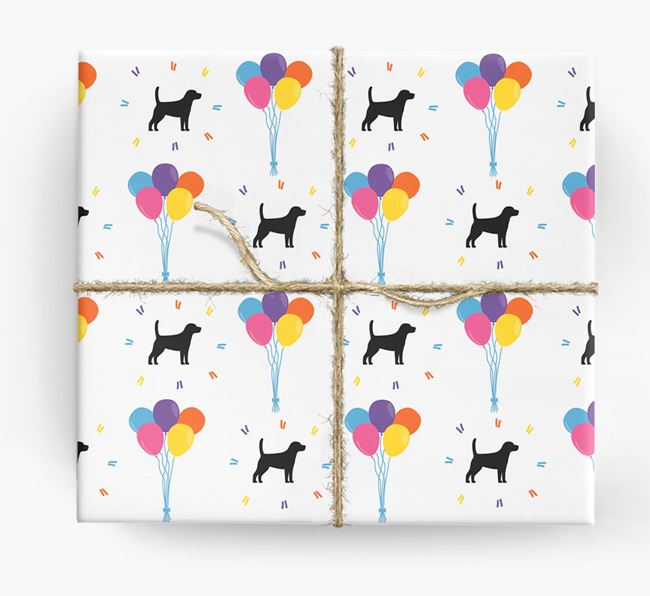 Birthday Balloon Wrapping Paper with Beagle Silhouettes