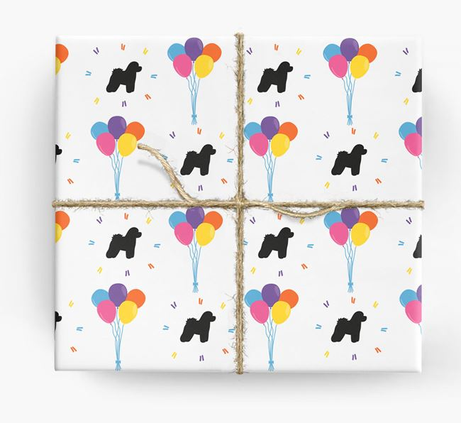 Birthday Balloon Wrapping Paper with Bichon Frise Silhouettes
