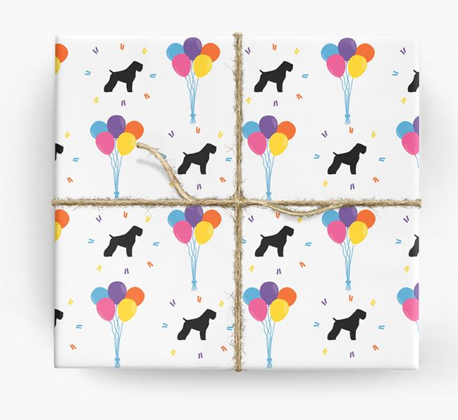 Birthday Balloon Wrapping Paper with Black Russian Silhouettes
