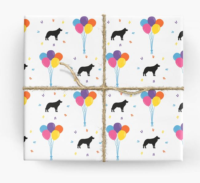 Birthday Balloon Wrapping Paper with Border Collie Silhouettes