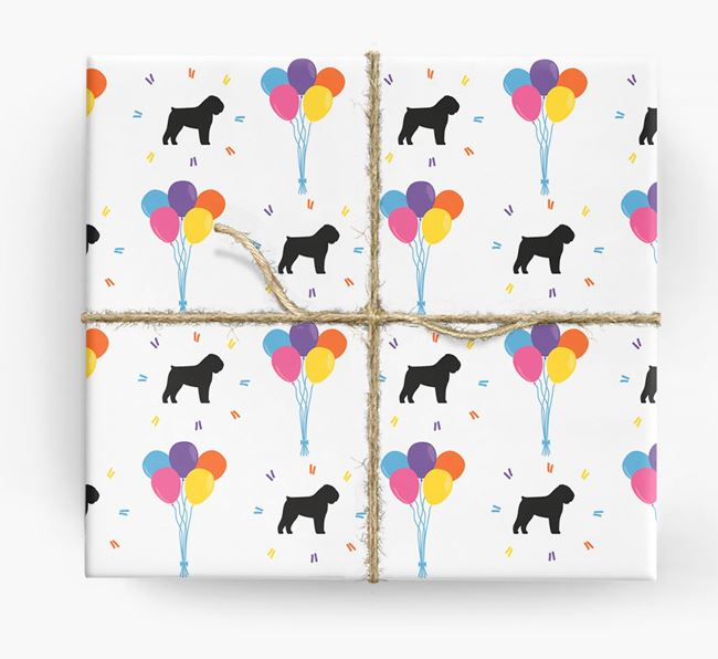 Birthday Balloon Wrapping Paper with Bouvier Des Flandres Silhouettes