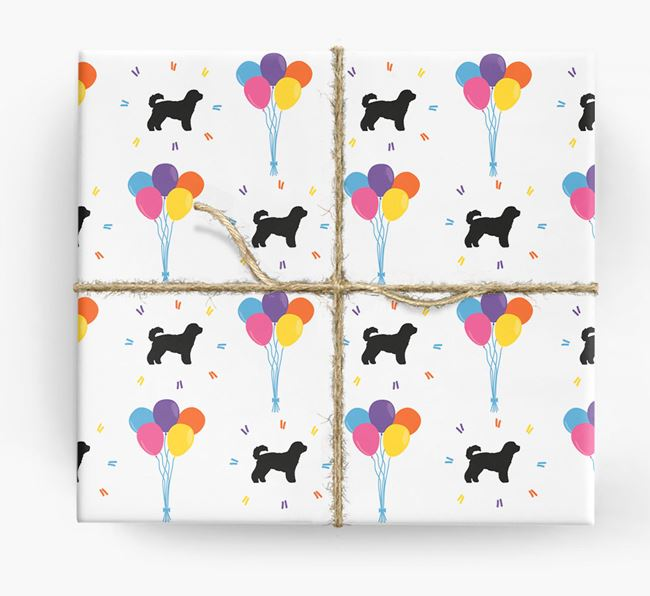 Birthday Balloon Wrapping Paper with Cavachon Silhouettes