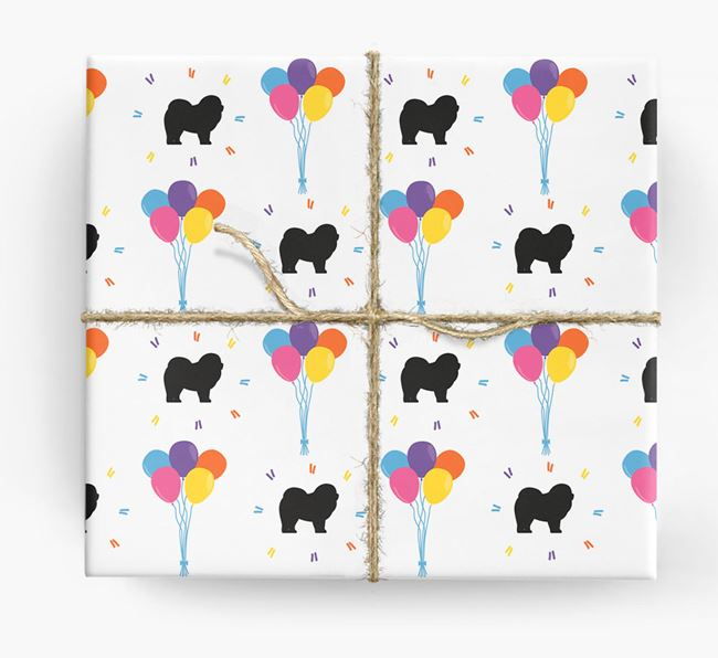 Birthday Balloon Wrapping Paper with Chow Chow Silhouettes