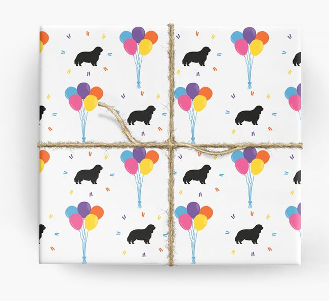 Birthday Balloon Wrapping Paper with Clumber Spaniel Silhouettes