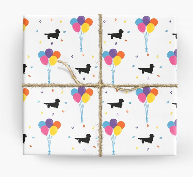 Birthday Balloon Wrapping Paper with Dandie Dinmont Silhouettes