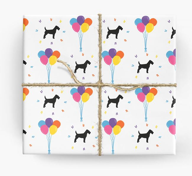 Birthday Balloon Wrapping Paper with Fox Terrier Silhouettes