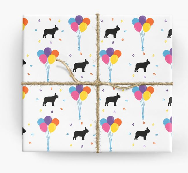 Birthday Balloon Wrapping Paper with Frenchie Silhouettes
