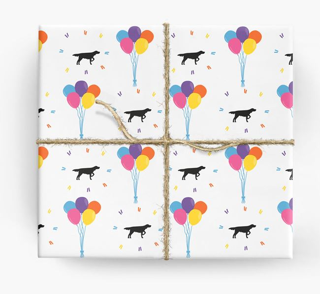 Birthday Balloon Wrapping Paper with Longhaired Pointer Silhouettes