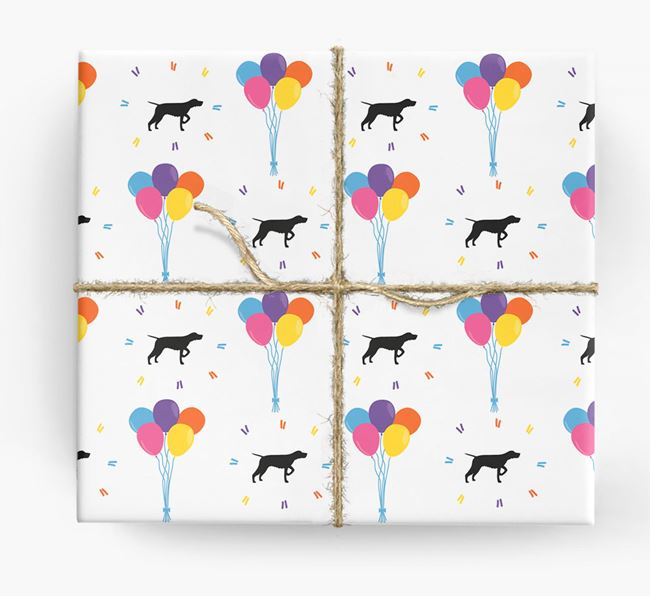 Birthday Balloon Wrapping Paper with Wirehaired Pointer Silhouettes