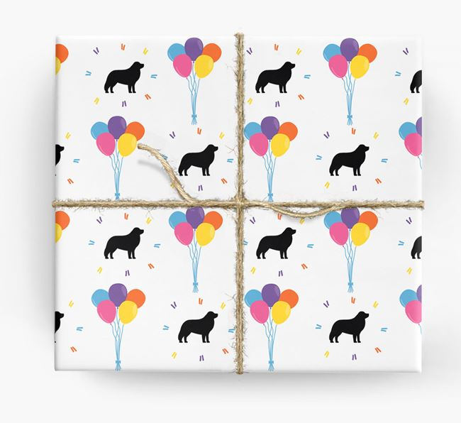 Birthday Balloon Wrapping Paper with Great Pyrenees Silhouettes
