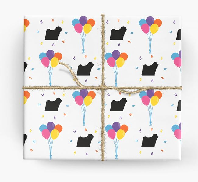 Birthday Balloon Wrapping Paper with Puli Silhouettes