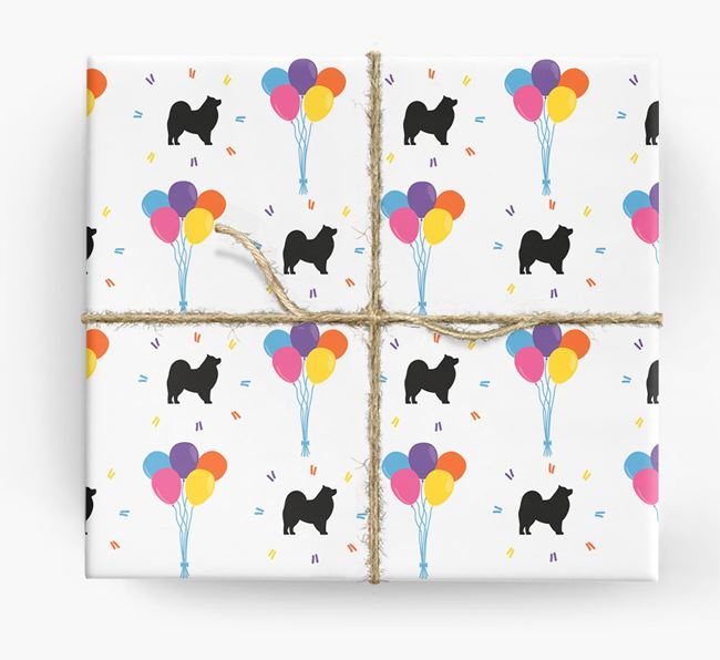 Birthday Balloon Wrapping Paper with Japanese Spitz Silhouettes