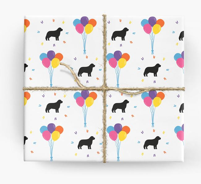 Birthday Balloon Wrapping Paper with Leonberger Silhouettes