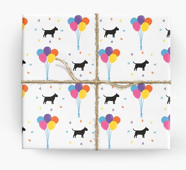 Birthday Balloon Wrapping Paper with Miniature Bull Terrier Silhouettes