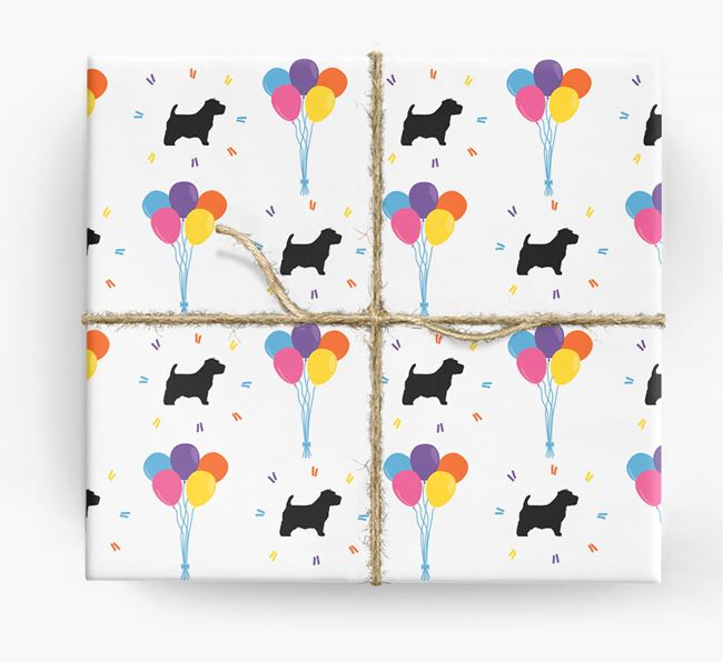 Birthday Balloon Wrapping Paper with Norfolk Terrier Silhouettes