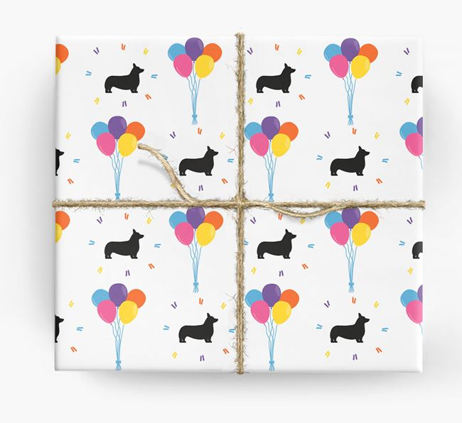 Birthday Balloon Wrapping Paper with Pembroke Corgi Silhouettes