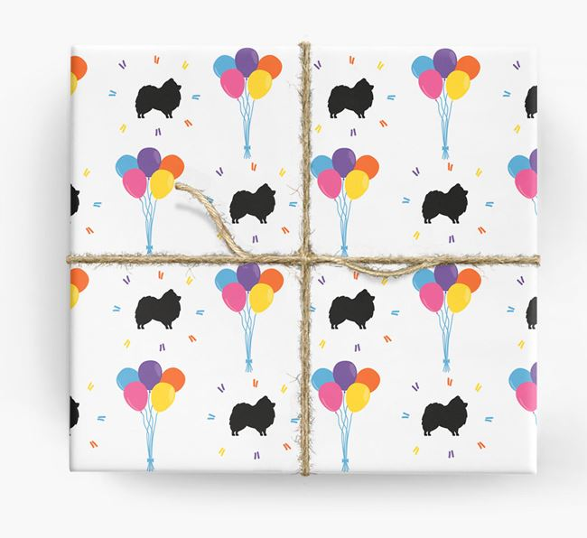 Birthday Balloon Wrapping Paper with Pomeranian Silhouettes