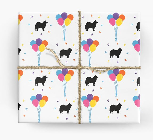 Birthday Balloon Wrapping Paper with Pomsky Silhouettes