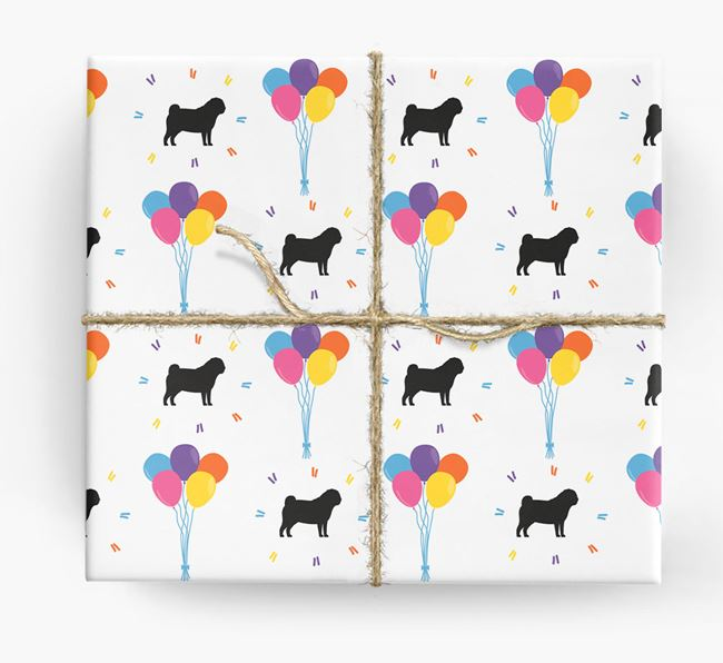 Birthday Balloon Wrapping Paper with Pug Silhouettes