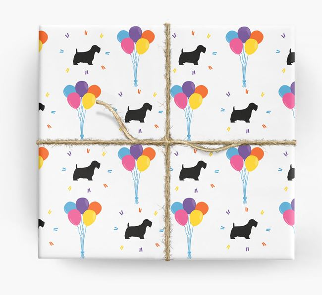 Birthday Balloon Wrapping Paper with Sealyham Terrier Silhouettes