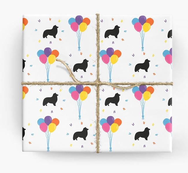 Birthday Balloon Wrapping Paper with Sheltie Silhouettes