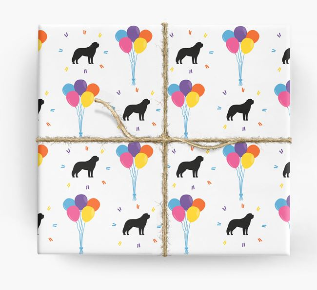 Birthday Balloon Wrapping Paper with St. Bernard Silhouettes