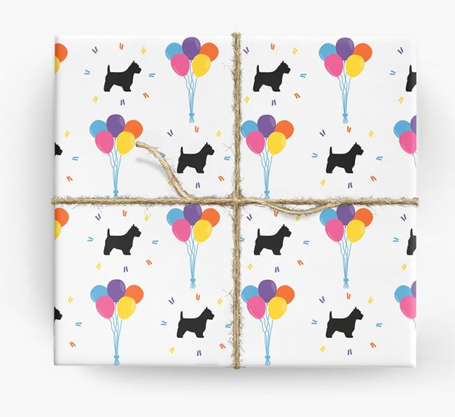 Birthday Balloon Wrapping Paper with Westie Silhouettes
