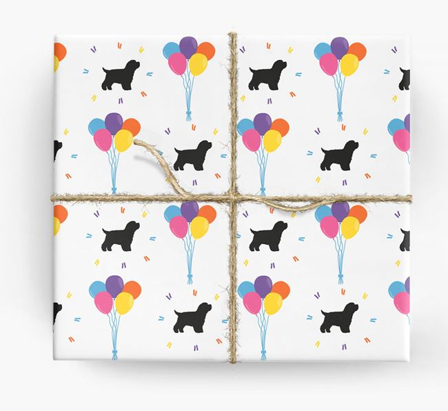 Birthday Balloon Wrapping Paper with Yorkipoo Silhouettes