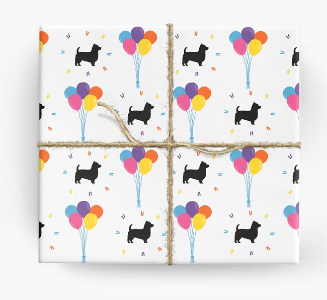 Birthday Balloon Wrapping Paper with Yorkshire Terrier Silhouettes