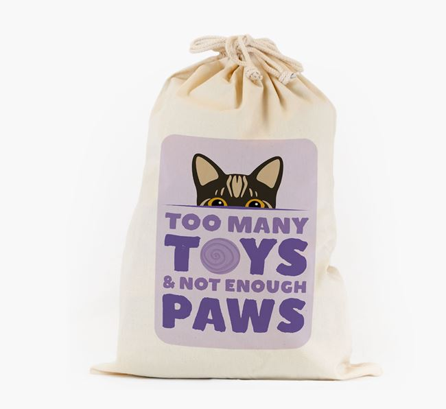 'Too Many Toys' - Personalised Toy Sack with Bengal Icon