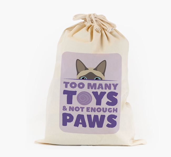'Too Many Toys' - Personalised Toy Sack with Siamese Icon