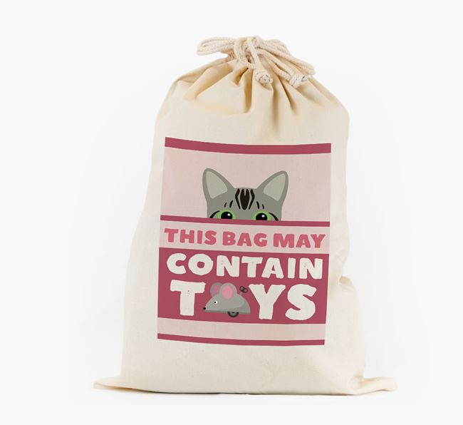 'May Contain Toys' - Personalised Toy Sack with Bengal Icon