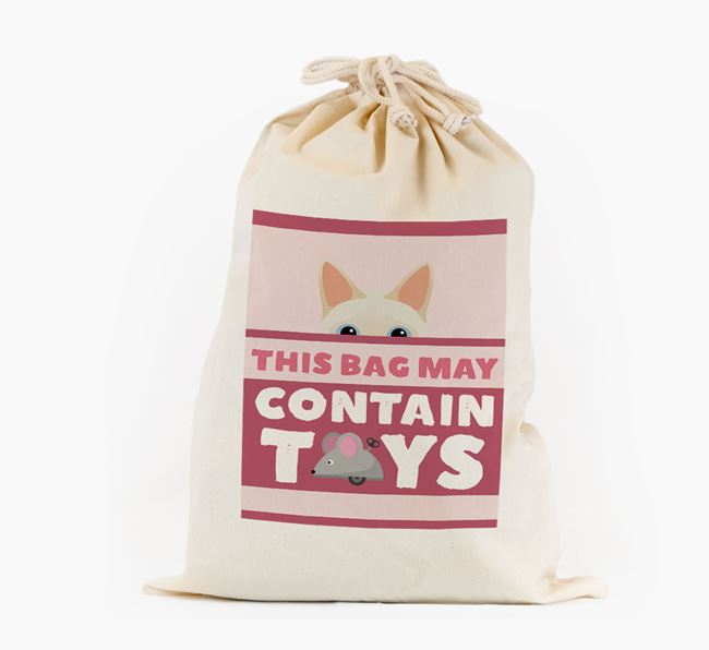 'May Contain Toys' - Personalised Toy Sack with Siamese Icon