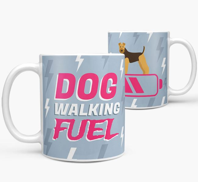 'Dog Walking Fuel' - Personalized Airedale Terrier Mug