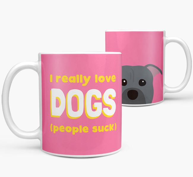 'I Really Love Dogs' - Personalized American Pit Bull Terrier Mug