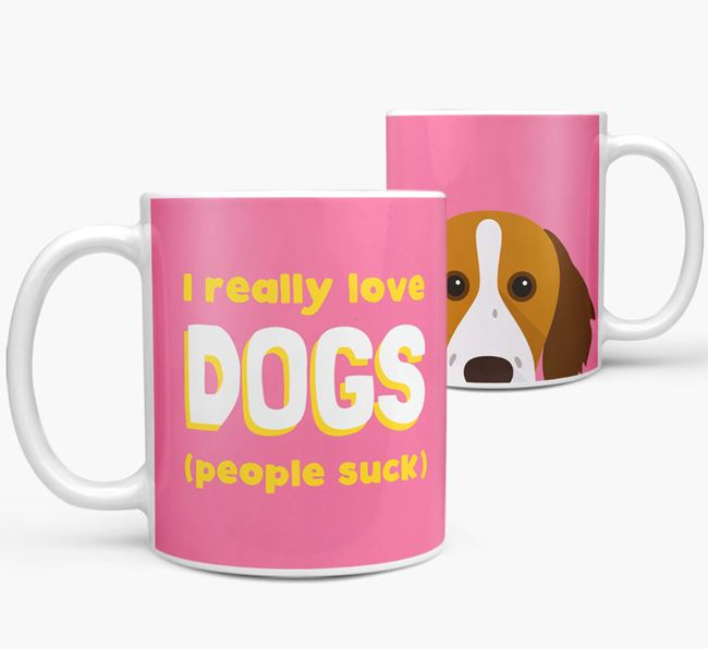 'I Really Love Dogs' - Personalized Brittany Mug