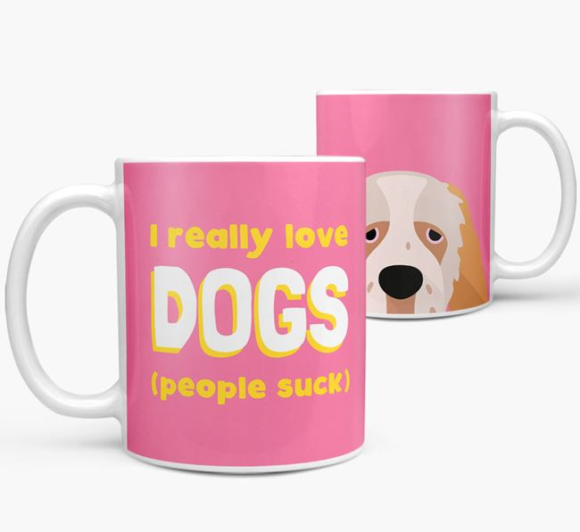 'I Really Love Dogs' - Personalized Clumber Spaniel Mug