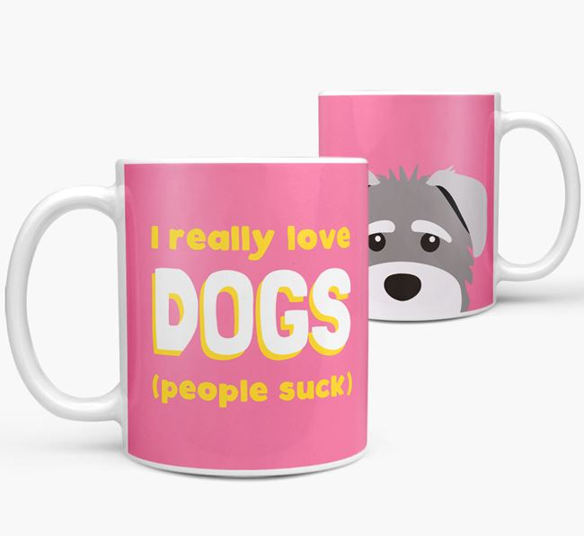 'I Really Love Dogs' - Personalized Schnoodle Mug