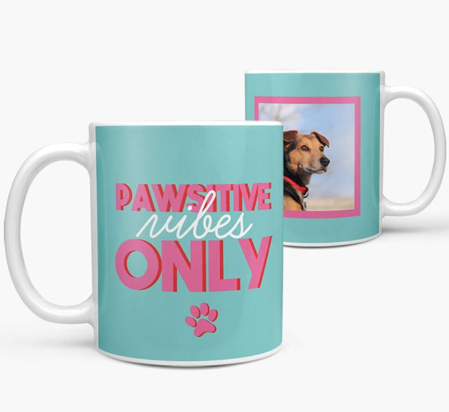 'Pawsitive Vibes Only' - Personalized Blue Lacy Mug