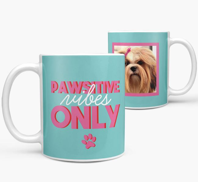 'Pawsitive Vibes Only' - Personalized Lhasa Apso Mug