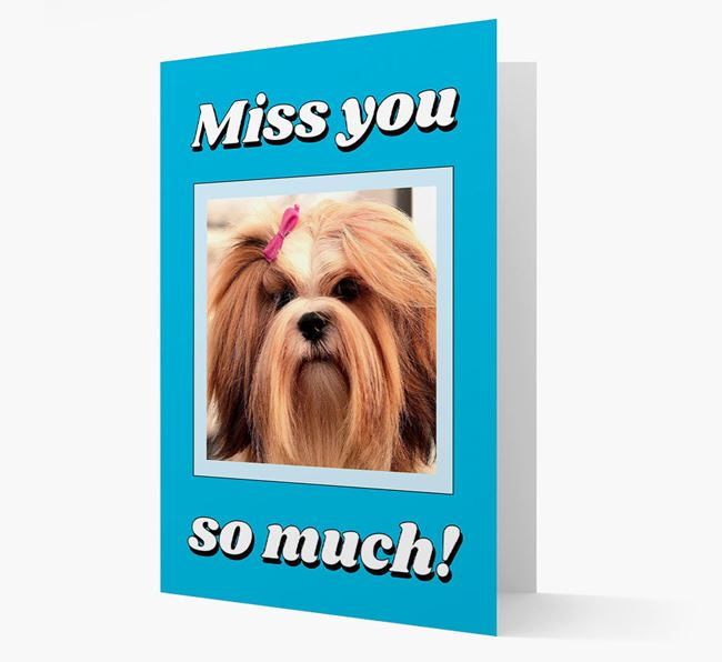 'Miss You So Much' - Personalised Lhasa Apso Card
