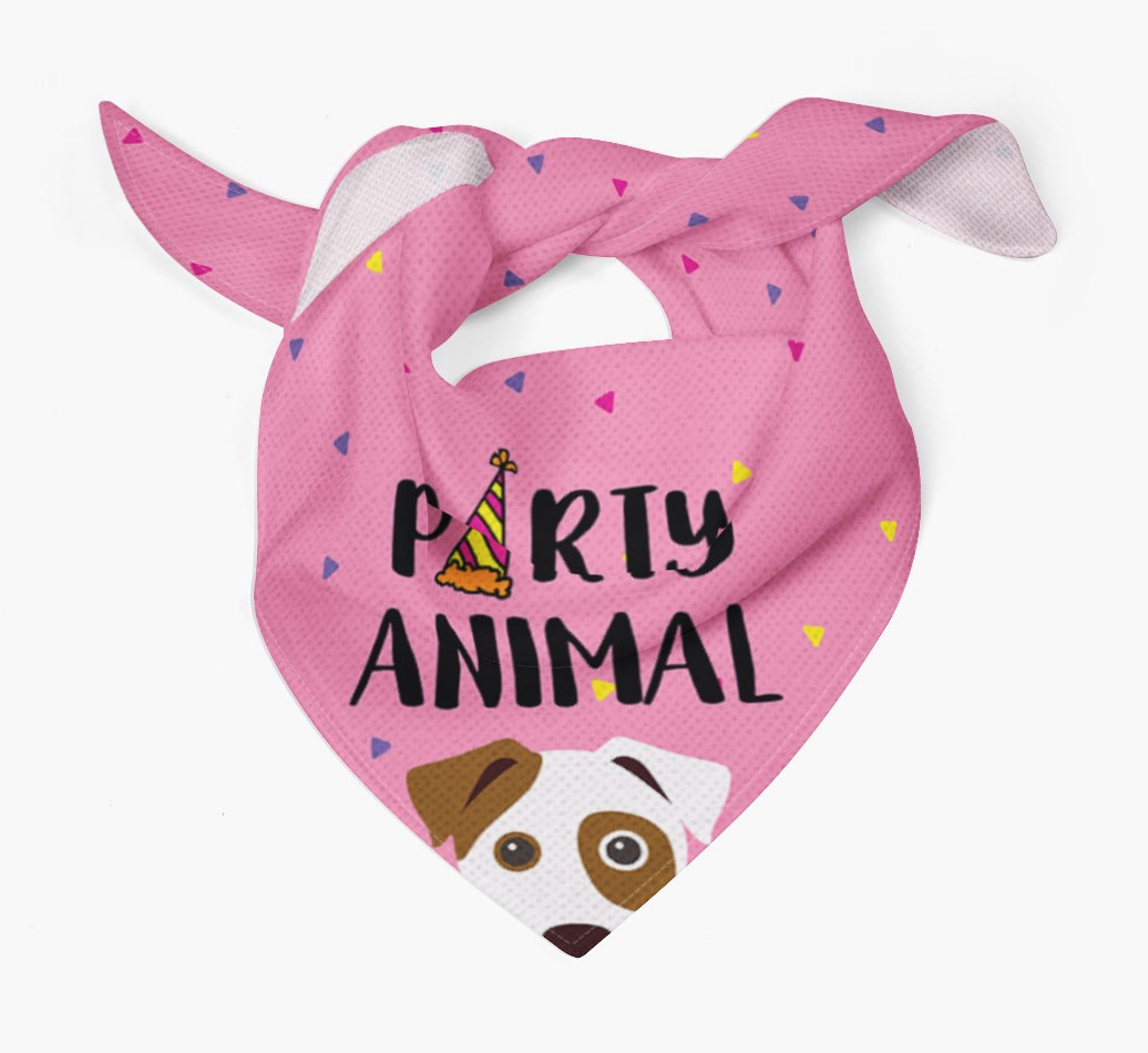 Dog {colour} Dog Bandana 'Party Animal' Tied