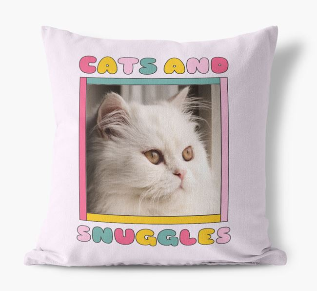 'Cats and Snuggles' - Personalized Cat Photo Upload Pillow