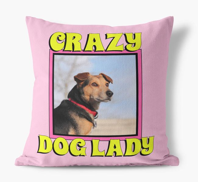'Crazy Dog Lady' - Personalized Jack-A-Poo Photo Upload Canvas Cushion
