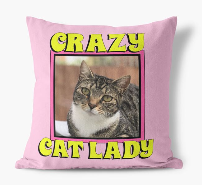 'Crazy Cat Lady' - Personalised Cat Photo Upload Canvas Pillow