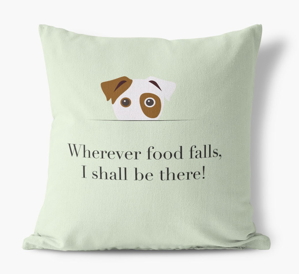 Wherever Food Falls {colour} Dog Canvas Pillow front view