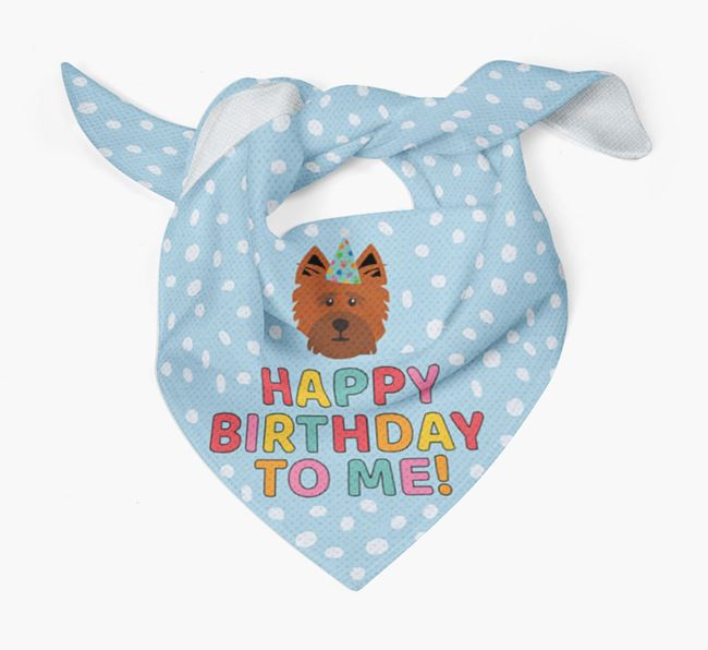 'Happy Birthday To Me' - Personalised Cairn Terrier Bandana