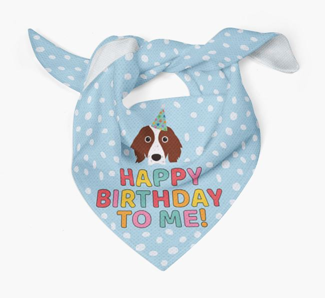 'Happy Birthday To Me' - Personalised Irish Red & White Setter Bandana