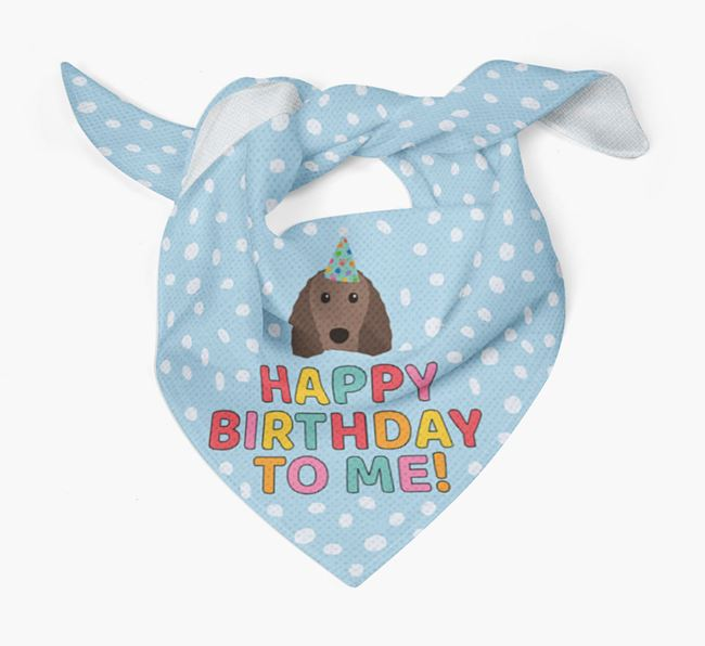'Happy Birthday To Me' - Personalised Irish Water Spaniel Bandana